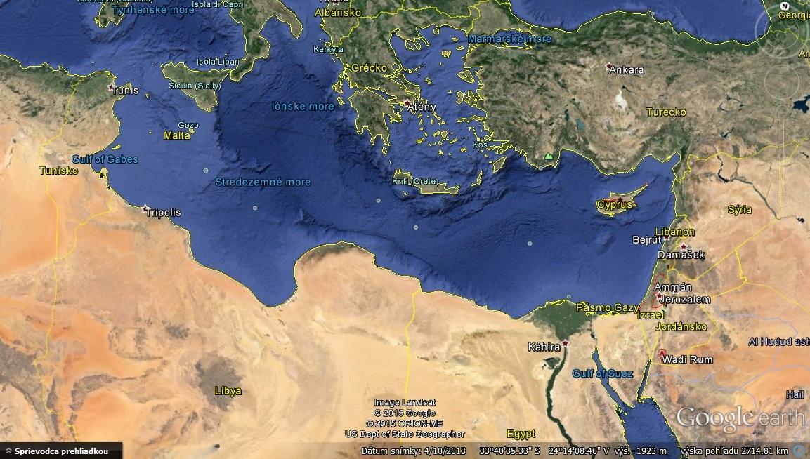 Jordánsko, blízsko v dolného pravého rohu