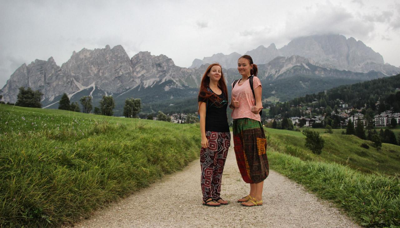 Cortina d'Ampezzo, výhľad na Pamagagnon a Monte Cristallo
