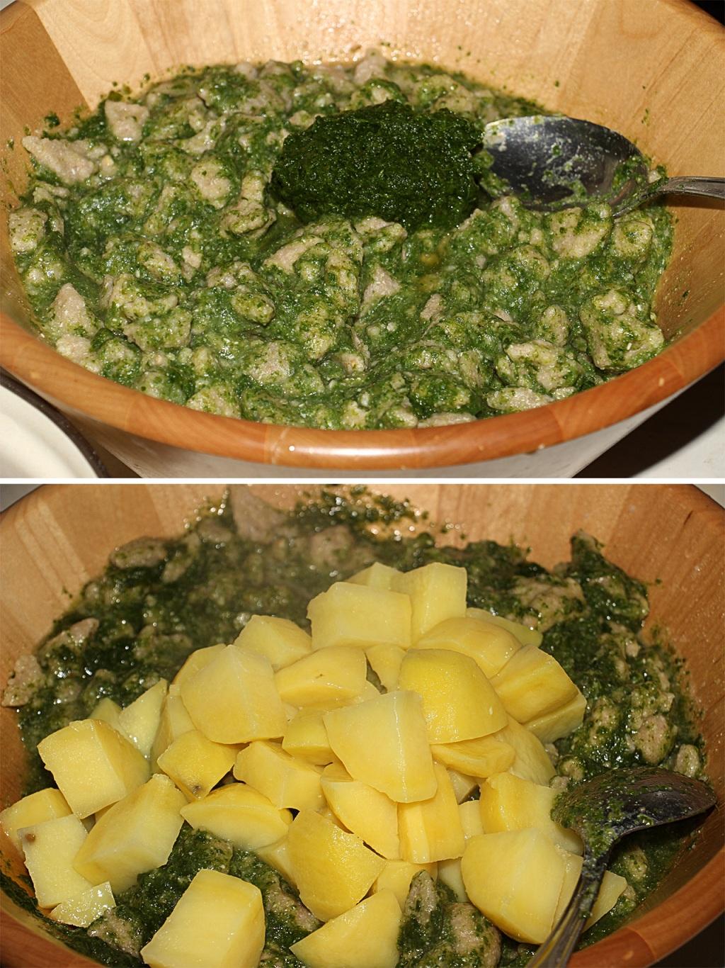 Hotové halušky premiešame so špenátom a varenými zemiačkami