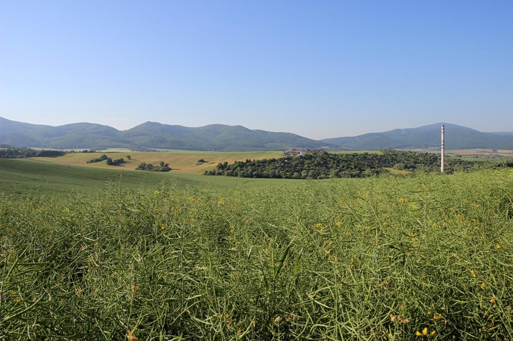Strážovské vrchy a polia za Brezinou s výhľadom na soblahovský komín, v pozadí Čiernachov a Macková, nad komínom Inovec