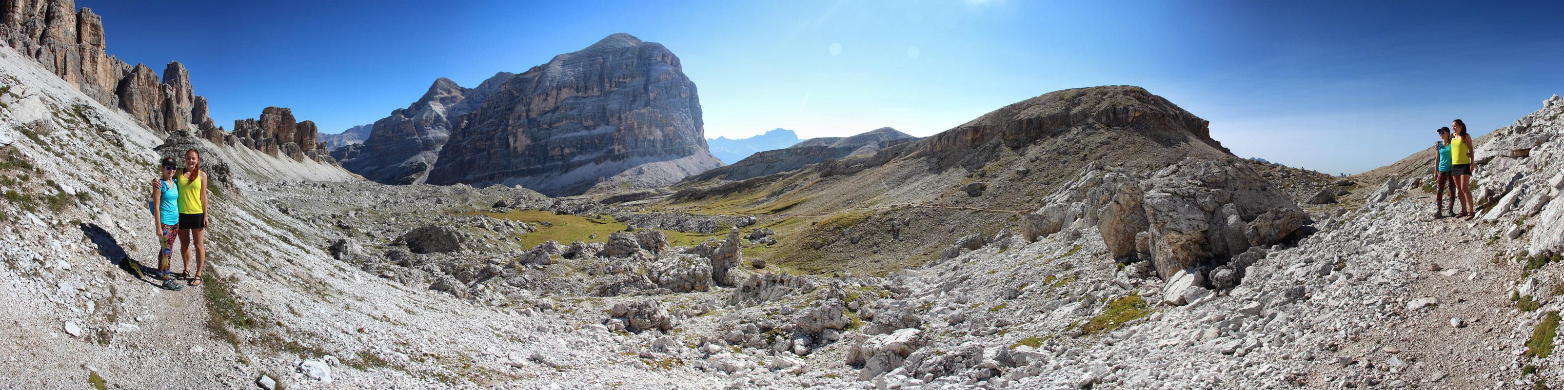 Panoráma z Ciadin de Lagazuoi, Tofana di Rozes, Dolomity