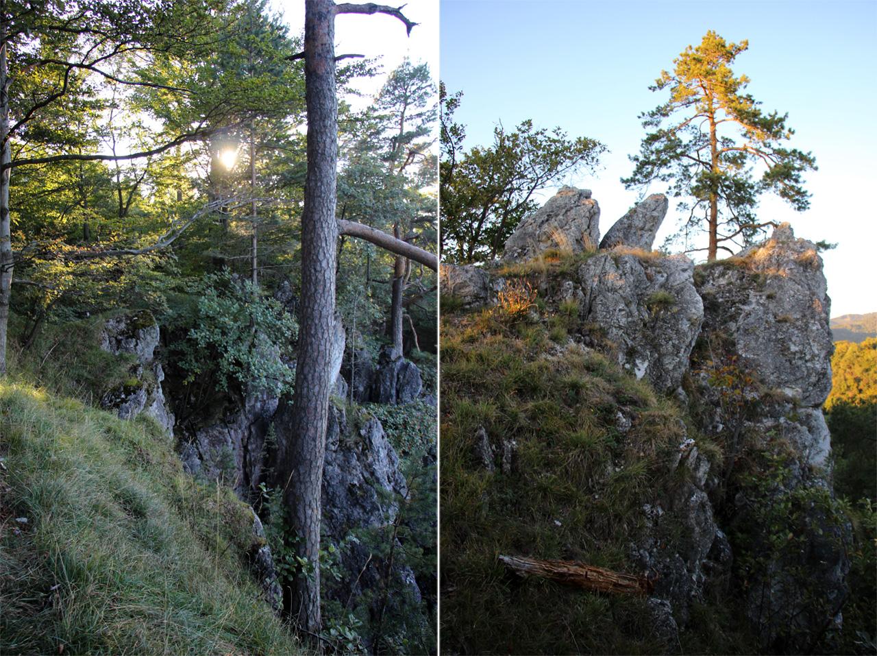 Členitý skalný terén nad Uhrovským hradom