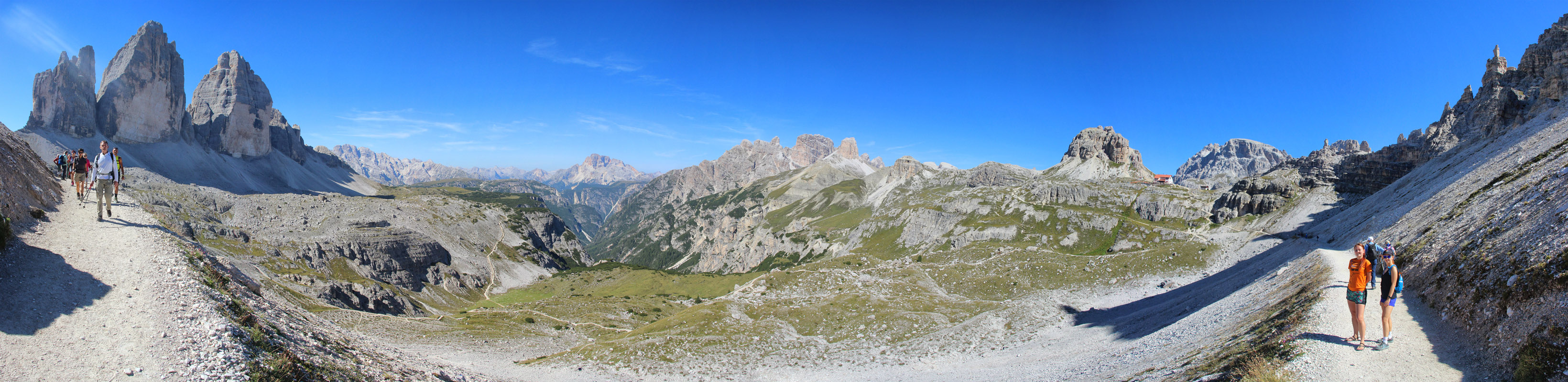 Panoráma Tre Cime, Croda Rosa, Monte Rudo, Rifugio Locatelli, Torre di Toblin, Dolomity