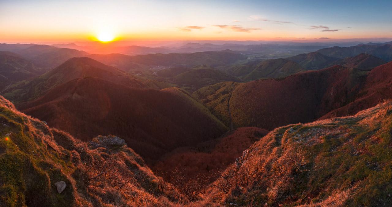 panoráma západu slnka z Kľaku