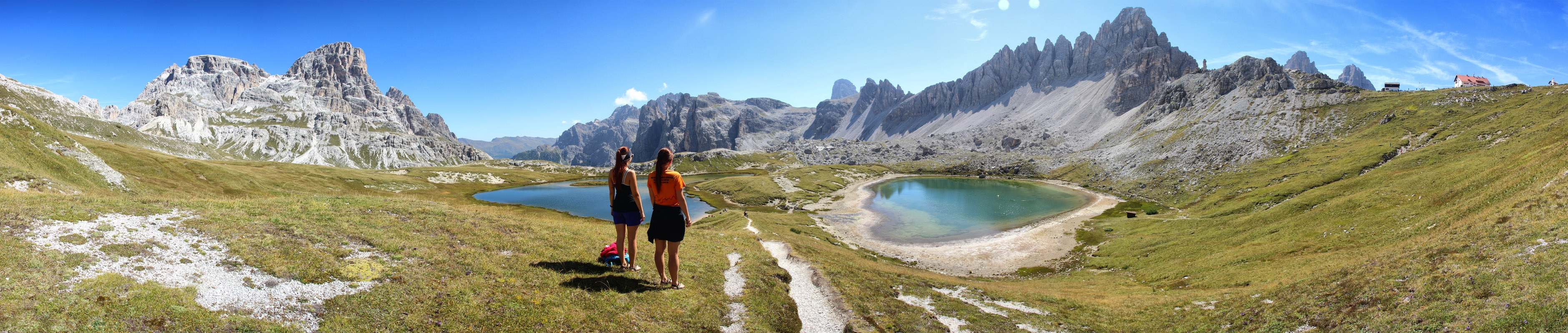 Panoráma Schusterplatte, Crode Fiscaline, Croda dei Toni, Monte Paterno, Dolomity