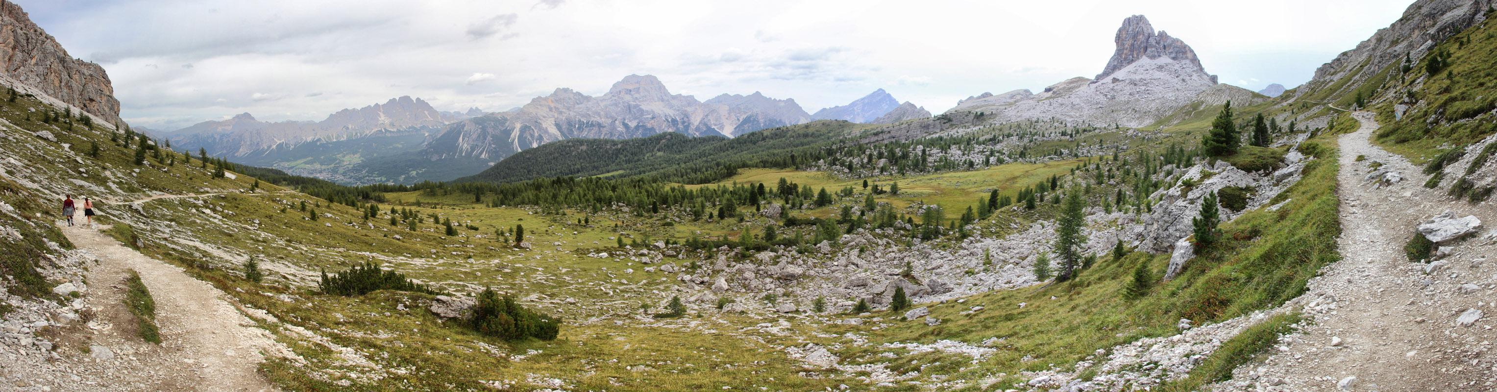 Panoráma Croda Rossa, Monte Cristallo, Tre Cime, Punta Nera a Sorapiss, Antelao a Becco di Mezzodi