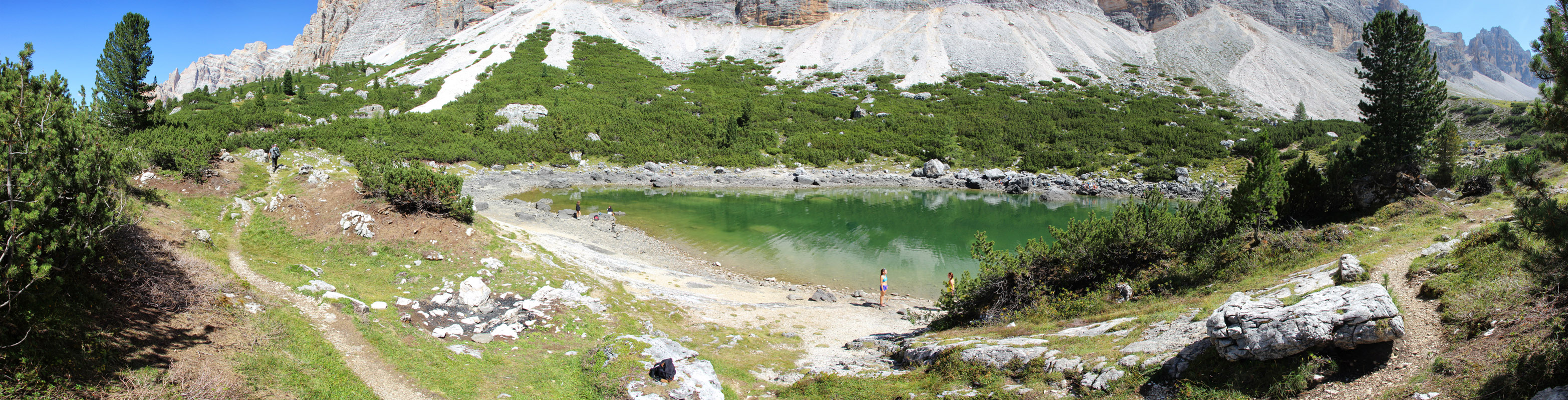 Panoráma pri plese Le de Lagacio, Dolomity