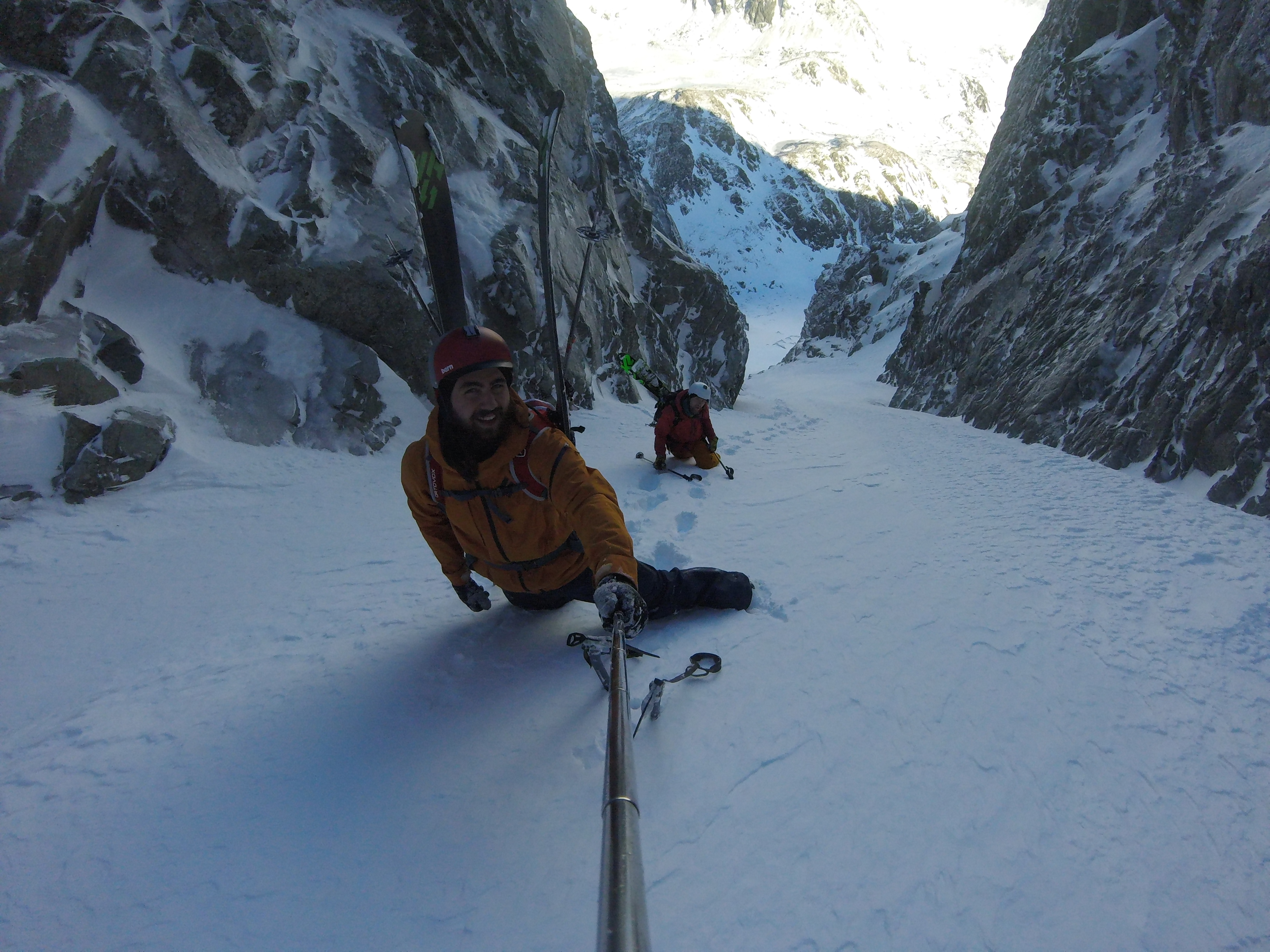 Ascending the satans couloir