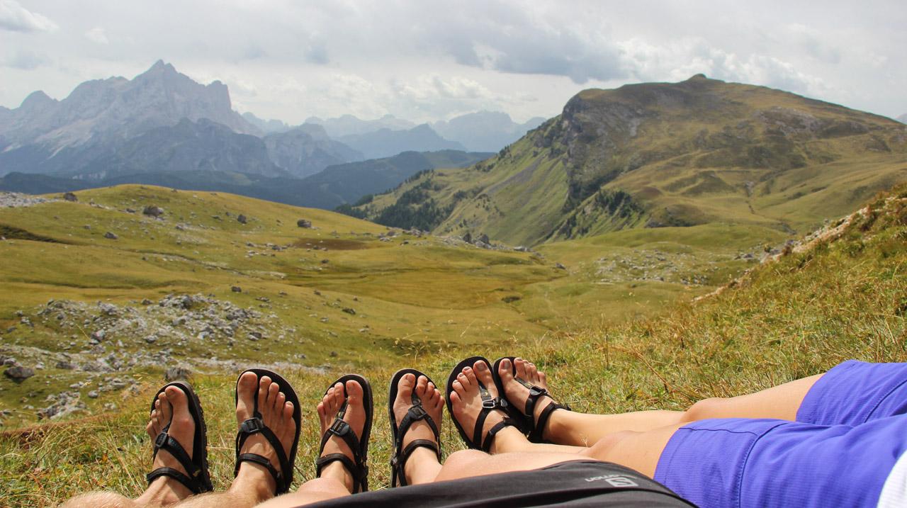 Luna sandals vo Forcella Ambrizzola, Dolomity