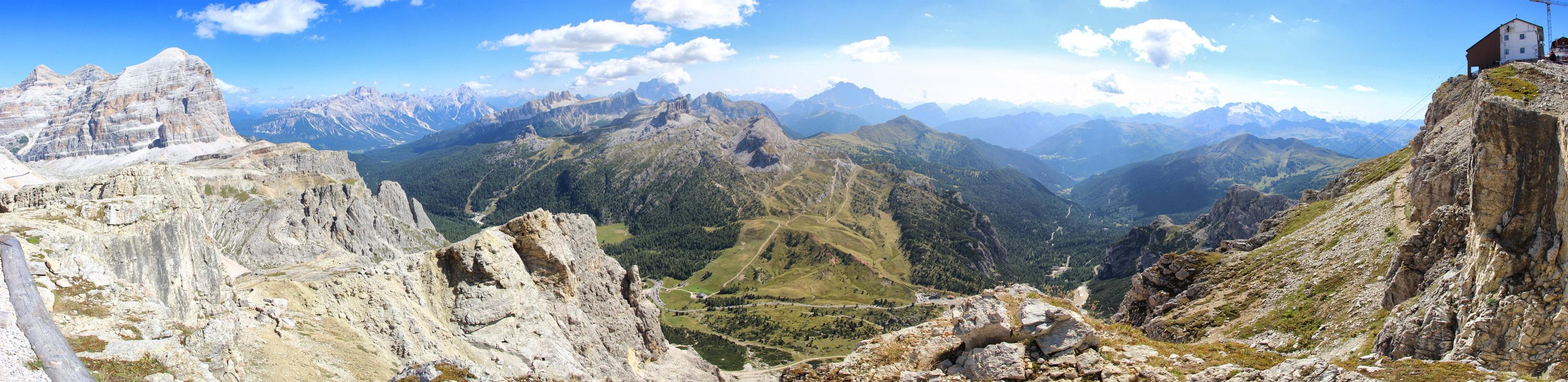 Panoráma Tofana di Rozes, Punta Sorapiss, Antelao, Monte Pelmo, Marmolada a Rifugio Lagazuoi, Dolomity