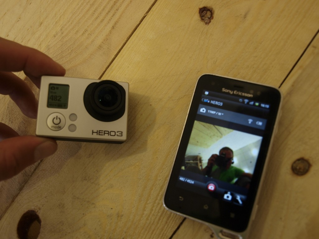 Sony Ericson Xperia active : Tu vidieť ako som spároval svoju gopročku s telefónom a je vidieť live náhľad toho čo práve sníma kamera