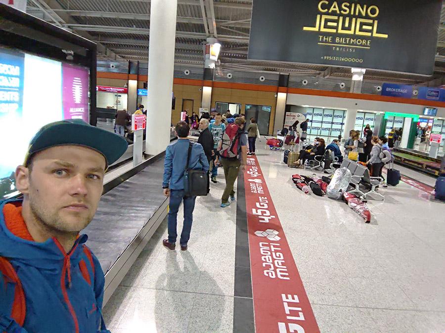 Letisko tbilisi cestou na KAzbeg v Gruzinsku
