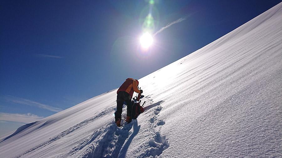 300 metrov Tesne pod vrcholom Kazbek