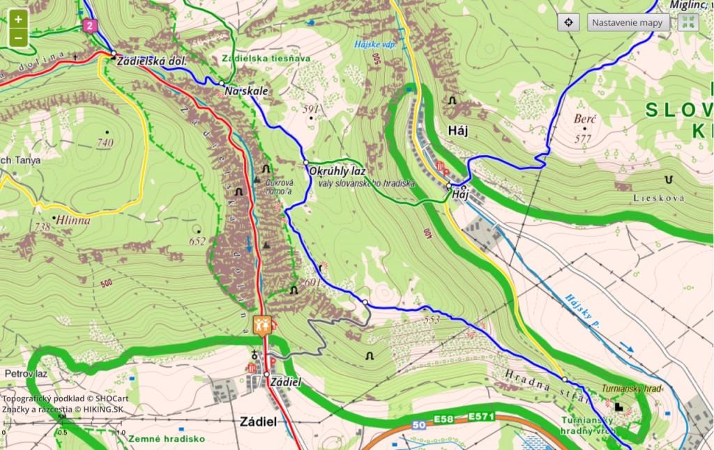 trasy ktoré smerujú už mimo, čiže Háj smer východ (modrá) a Zádiel smer západ (žltá) odporúčam mať trať naimportovanú v hodinkách, nakoľko ja tam zablúdim vždy...:D