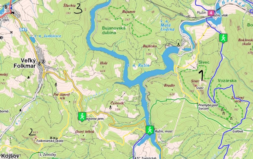 prehľadová mapka okolia priehrady Ružín...
