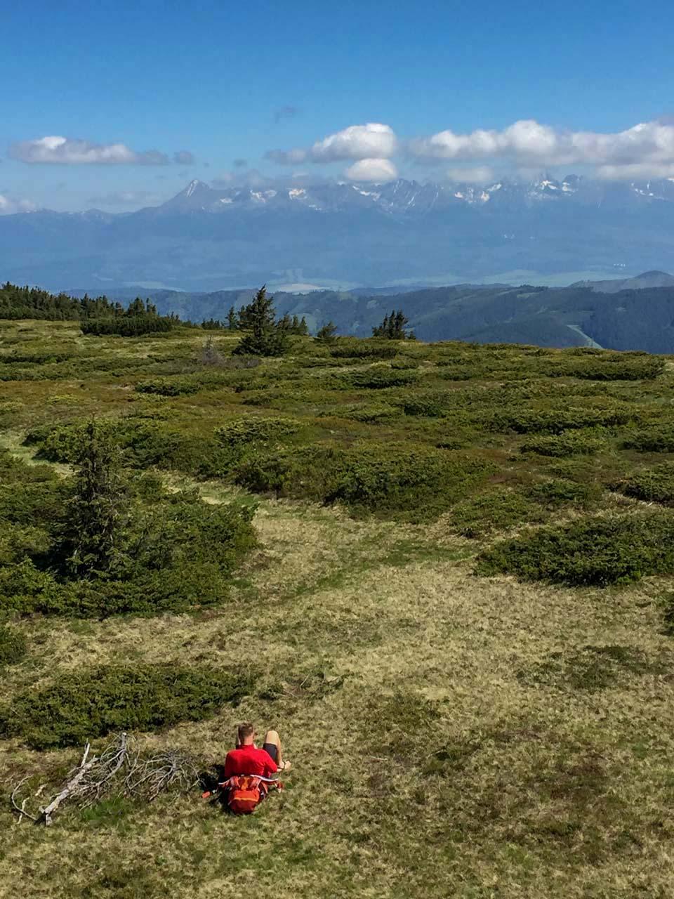 Hrebeňovka Nízkych Tatier Výhľad na Vysoké Tatry