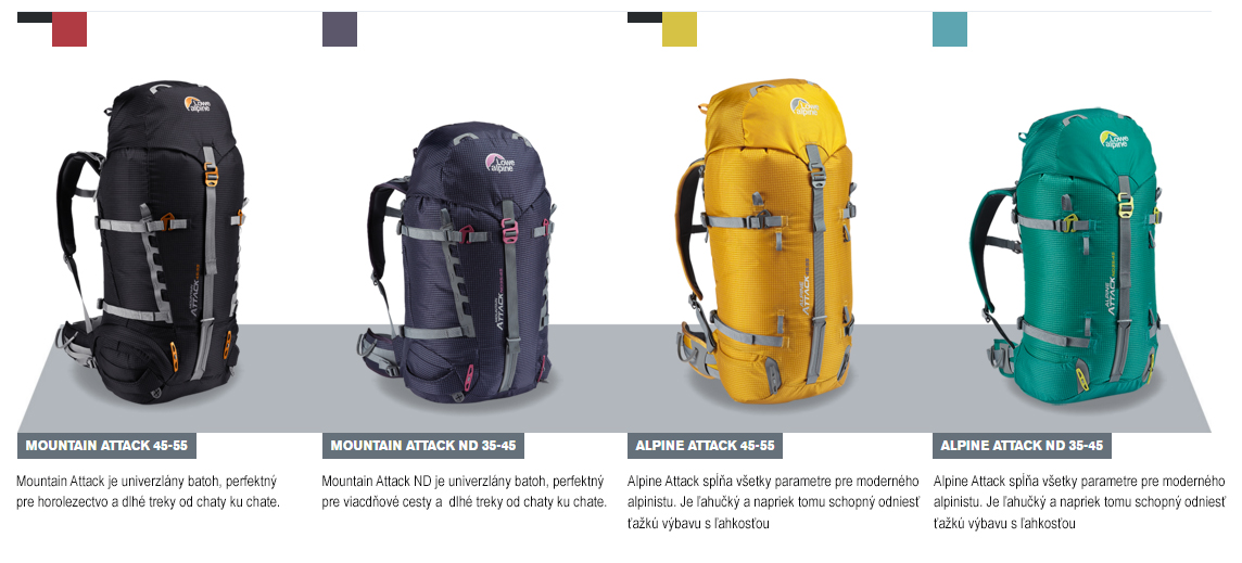 Univerzálne horolezecké Lowe alpine batohy