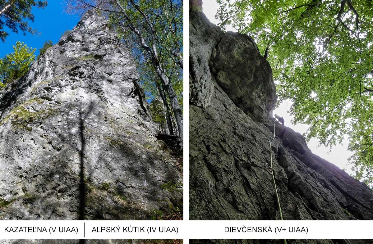 lezecké sektory na turniskách v oblasti T2