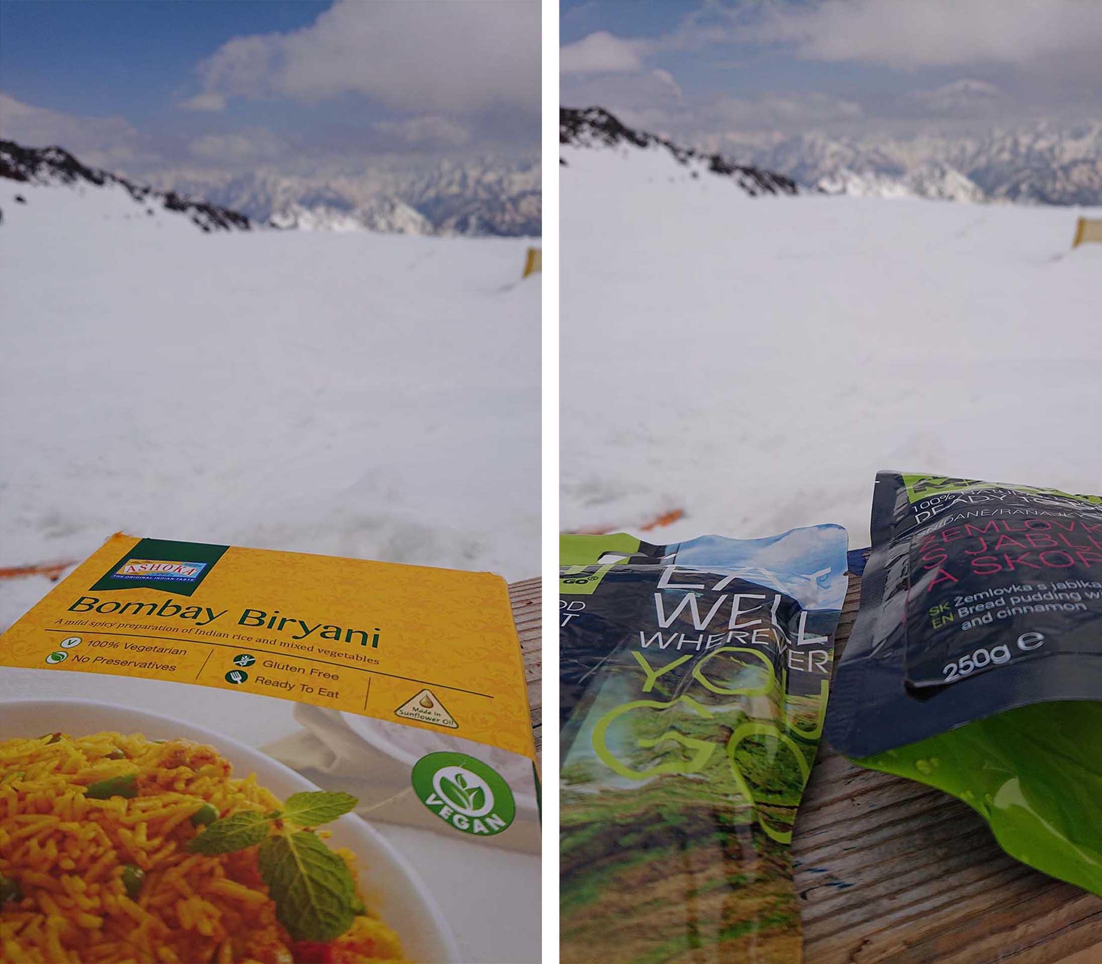 Expedičné jedlo pod Elbrusom.