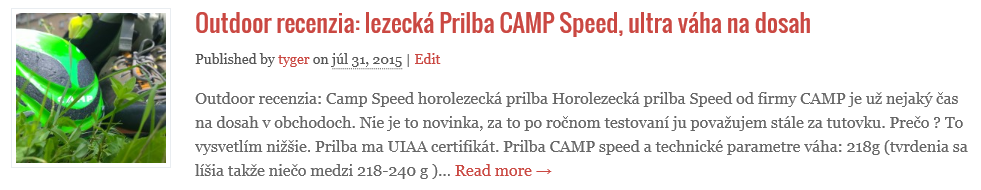 Horolezecká prilba Camp Speed použitá aj v Zádieli