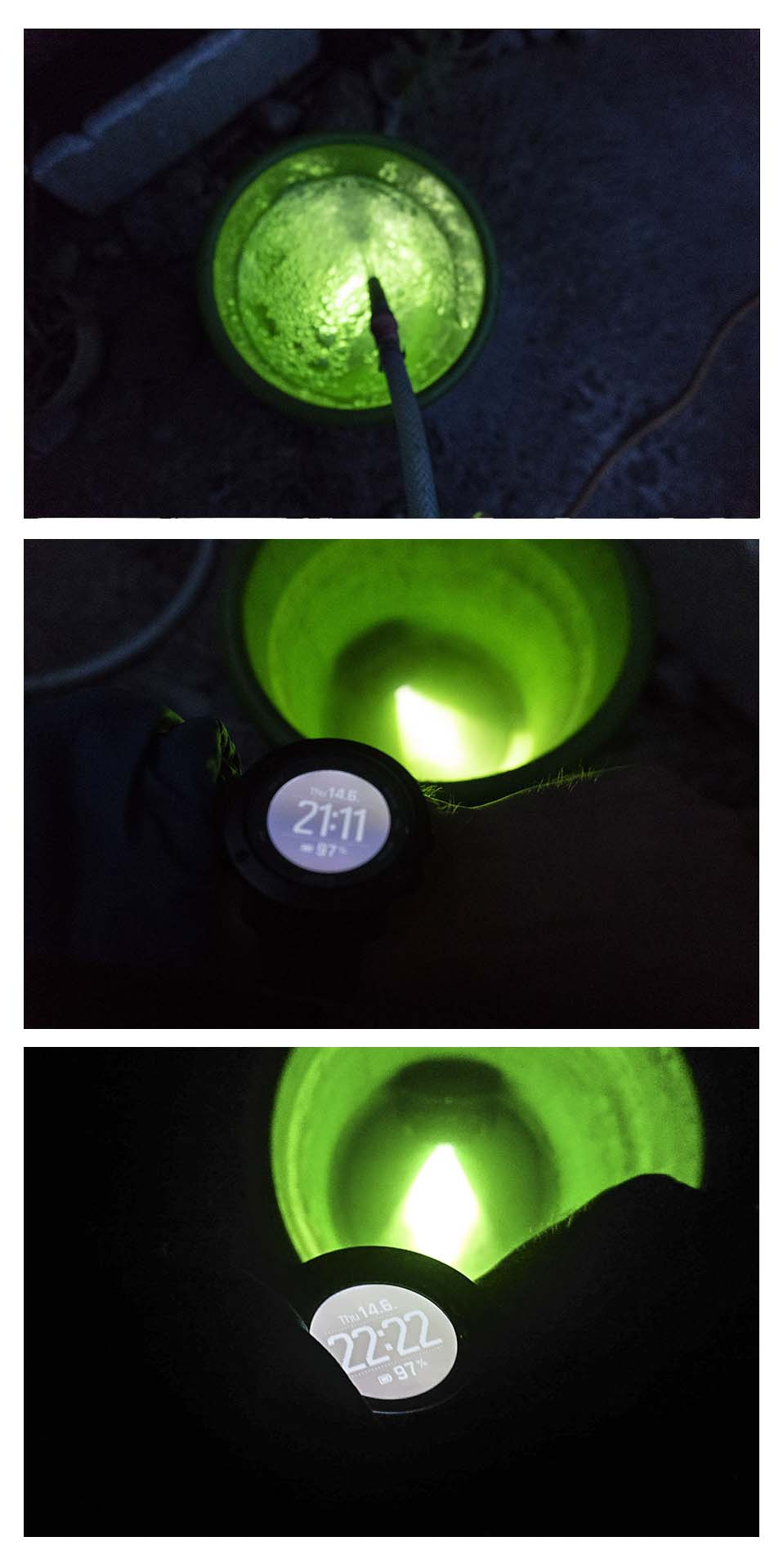 Čelovka Fenix počas testu vodotesnosti