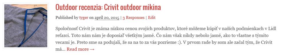 recenzia Crivit mikina