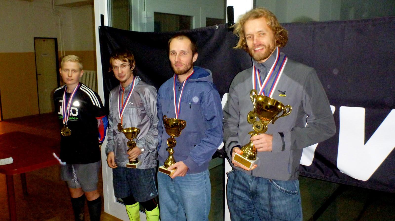Víťazi EKUT + 300km/13200m (Z ľava 4.Tomáš Štverák, 3. Patrik Hrotek, 2. Dušan Krajčovič, 1. Aleš Zavoral)