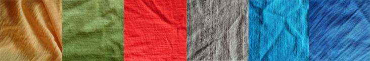 Farebné možnosti merino trička Kamenec: žlto-oranžová, limetkovo zelená, červená, vojenská zelená, tyrkys modrá, oceľovo modrá