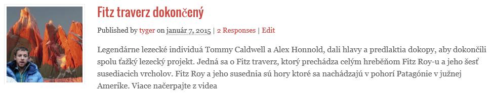 Fitz roy traverz dokončený Tommym Calldwelom a Alexom Honnoldom