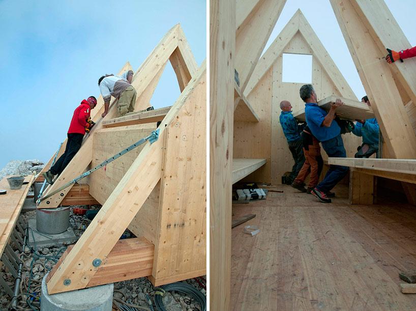 vystavba horskej chaty v julskych alpach