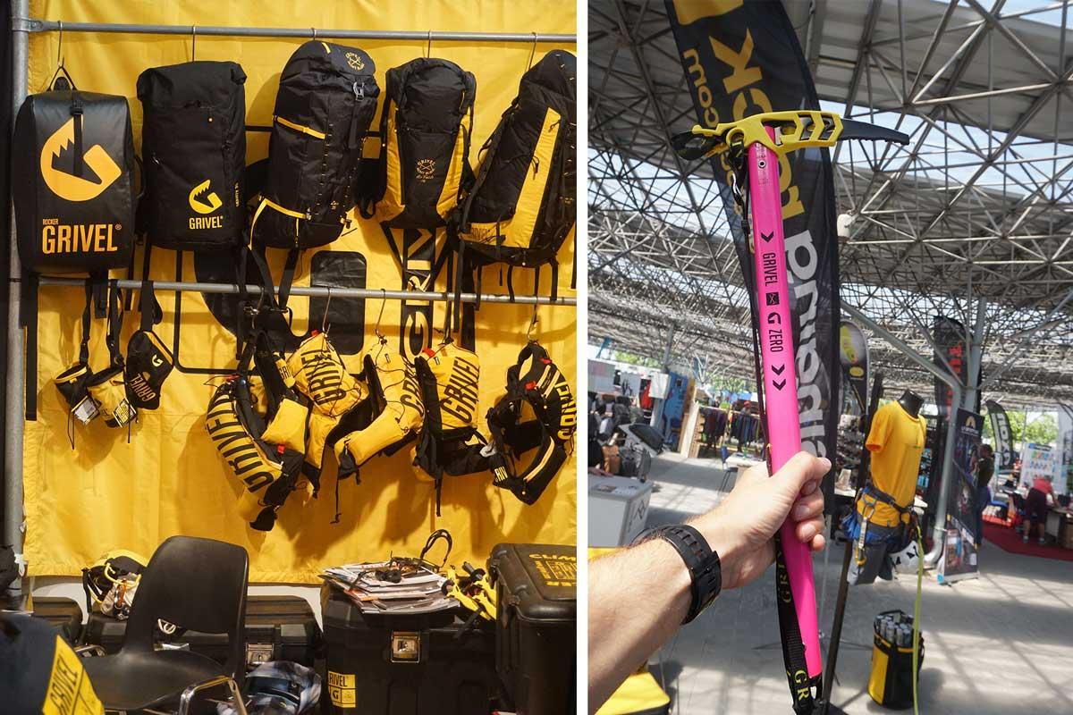 Bežecké , lezecké a skialp batohy Grivel na ľavej strane fotky a na pravej ich nový cepín na Alpinizmus