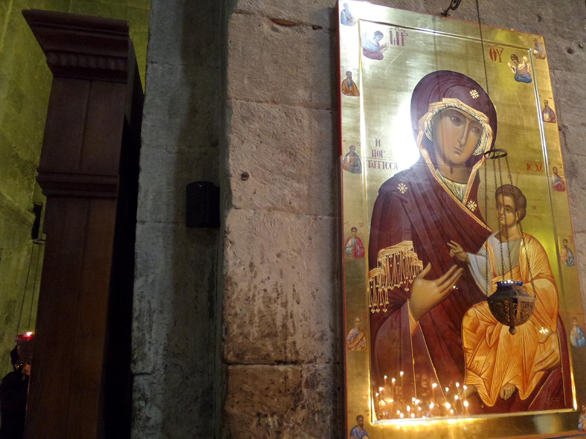 Pravoslávny obraz v gruzínskom kostole