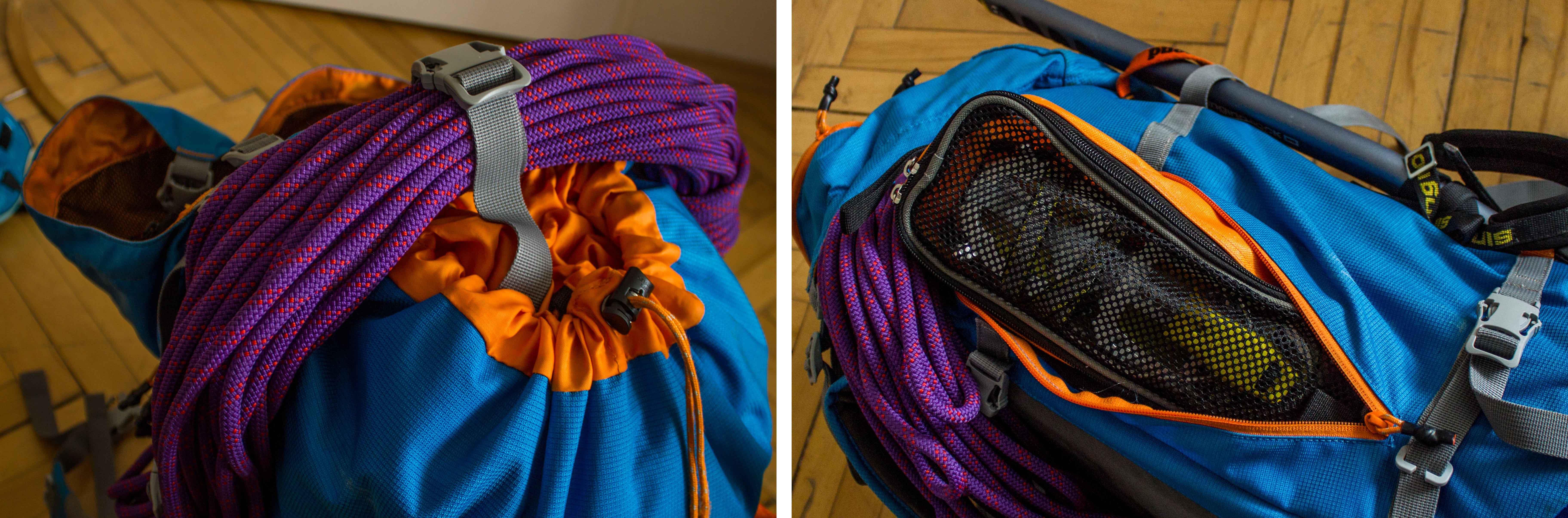 Alpinistický a horolezecký batoh Simond a jeho uchytenie lana