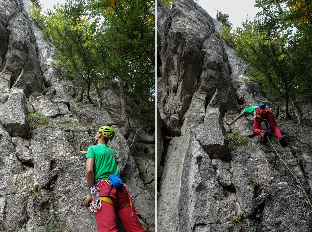 Slovenské skaly, lezenie v oblasti Komjatná, cesta Gigolo a Ženská nemoc