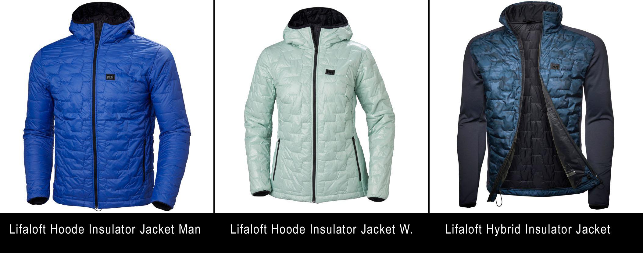 Lifaloft bundy z ľava: Lifaloft Hoody Insulator Jacket man | Lifaft Hoody Insulator Jacket Woman | Lifaloft Hybrid Jacket Man