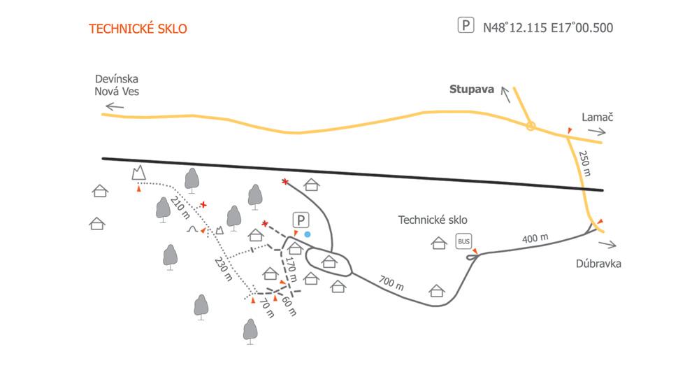 Technické sklo, mapka prístupu k lezeckej oblasti