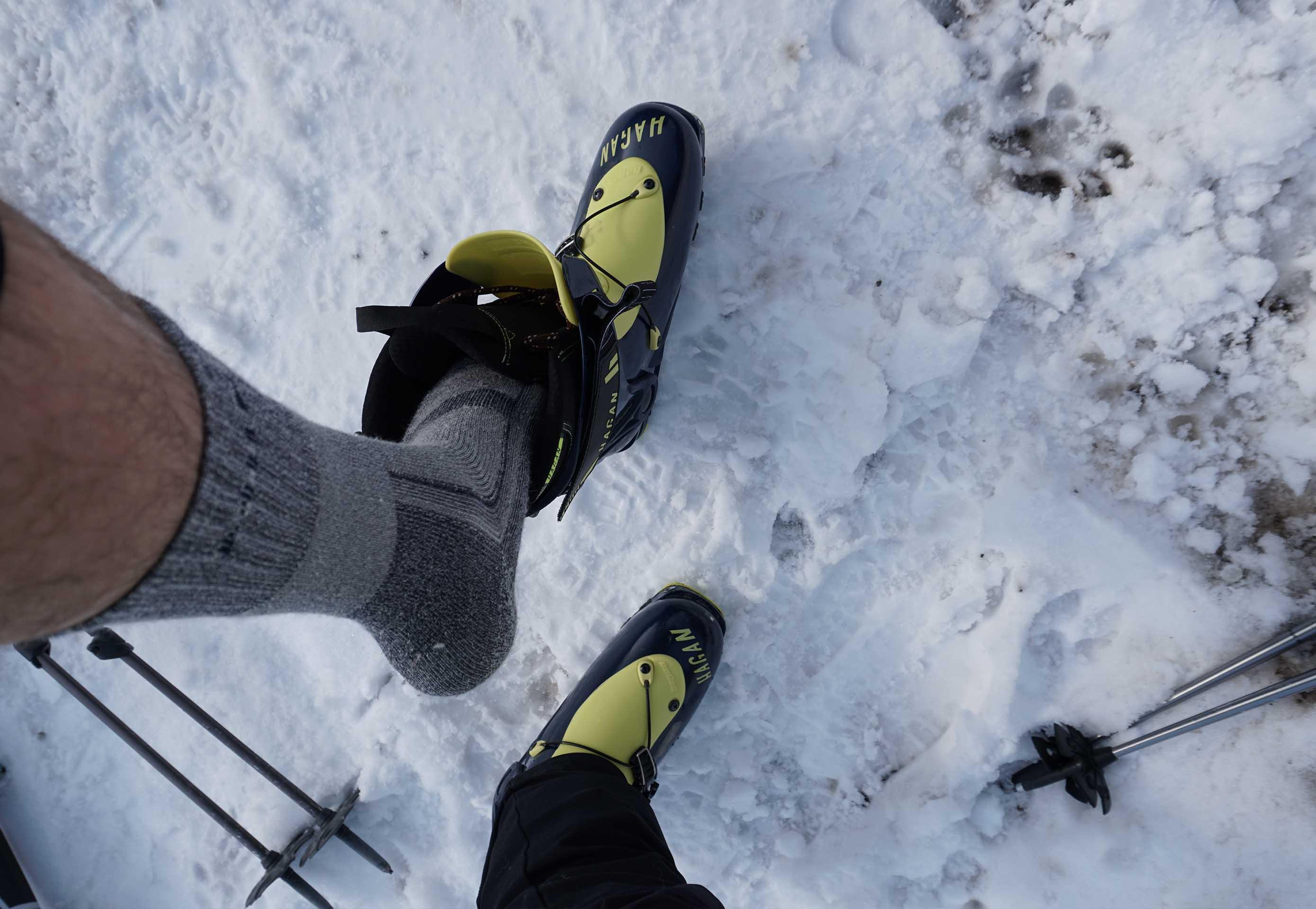 Merino ponožky Mund Altai pri skialp lyžiarkach