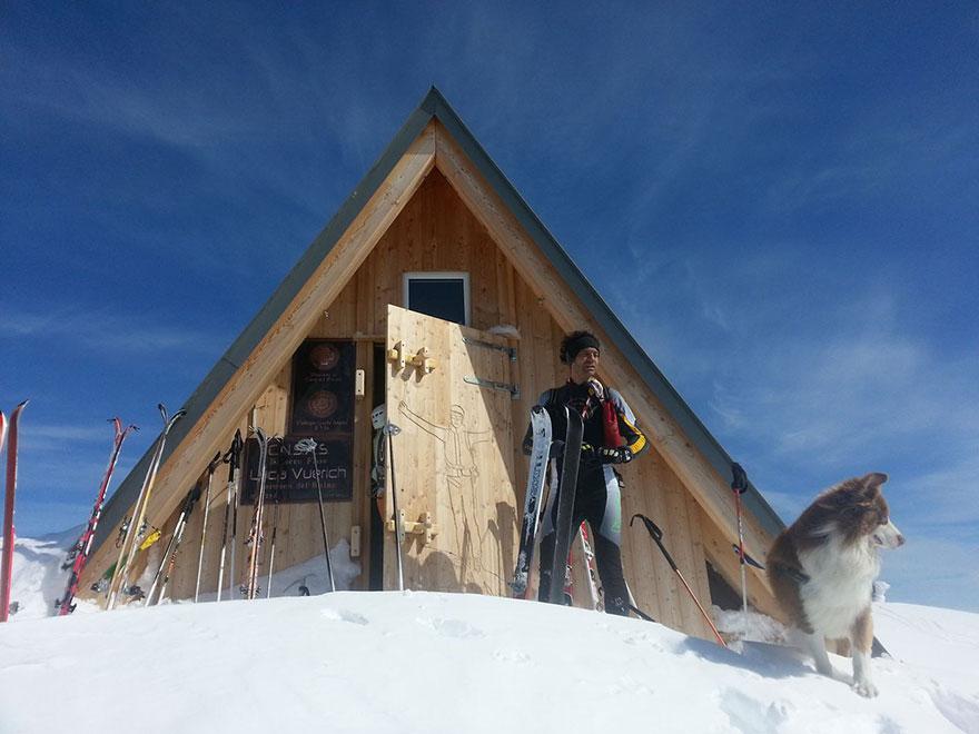 Horská chata s uvytovaním zadarmo, na počesť Luca Vuericha