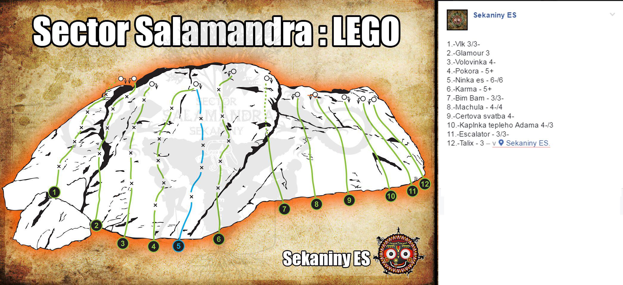 Oblasť salamandra vhodná pre začiatočníkov lezcov, slovenské skaly
