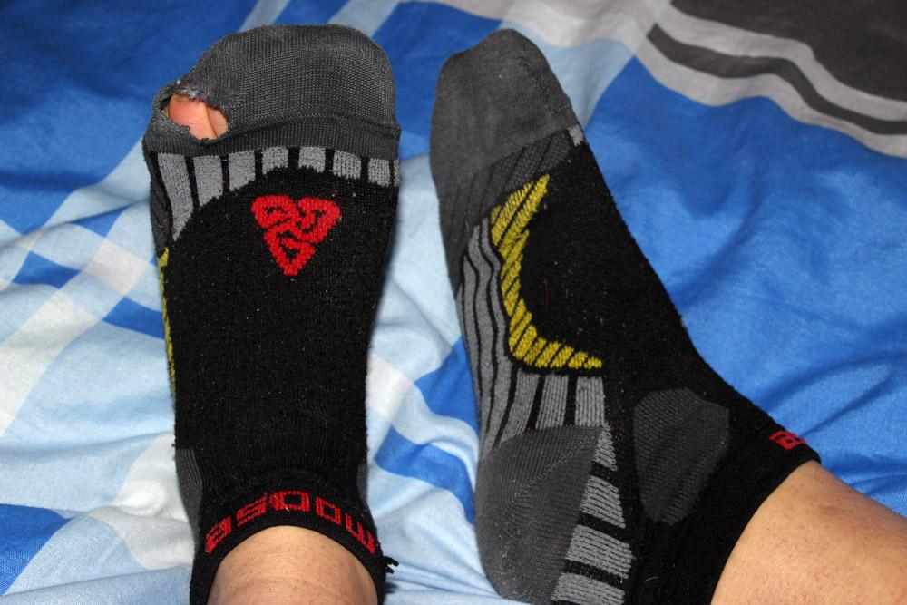 Stav Moose Ultramarathon ponožiek po cca 1500 vynosených km