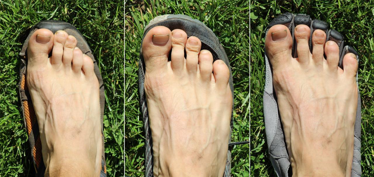 Porovnanie priestoru pre prsty - turistická obuv Nordic walking, minimalistické topánky Merrell Trail glove 3 a Vibram Fivefingers Trek Ascent