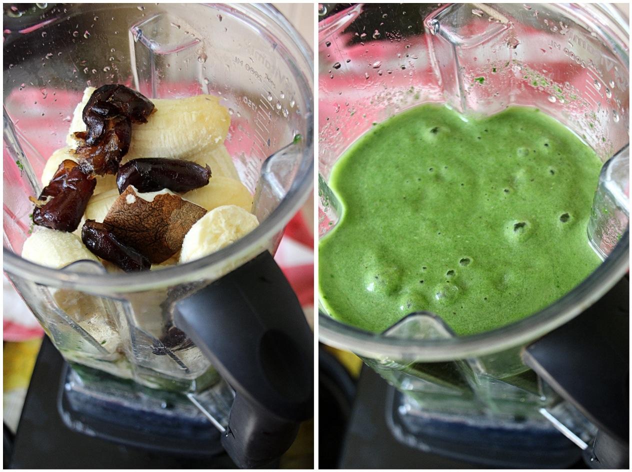 Zelený špenátový smútik v procese výroby