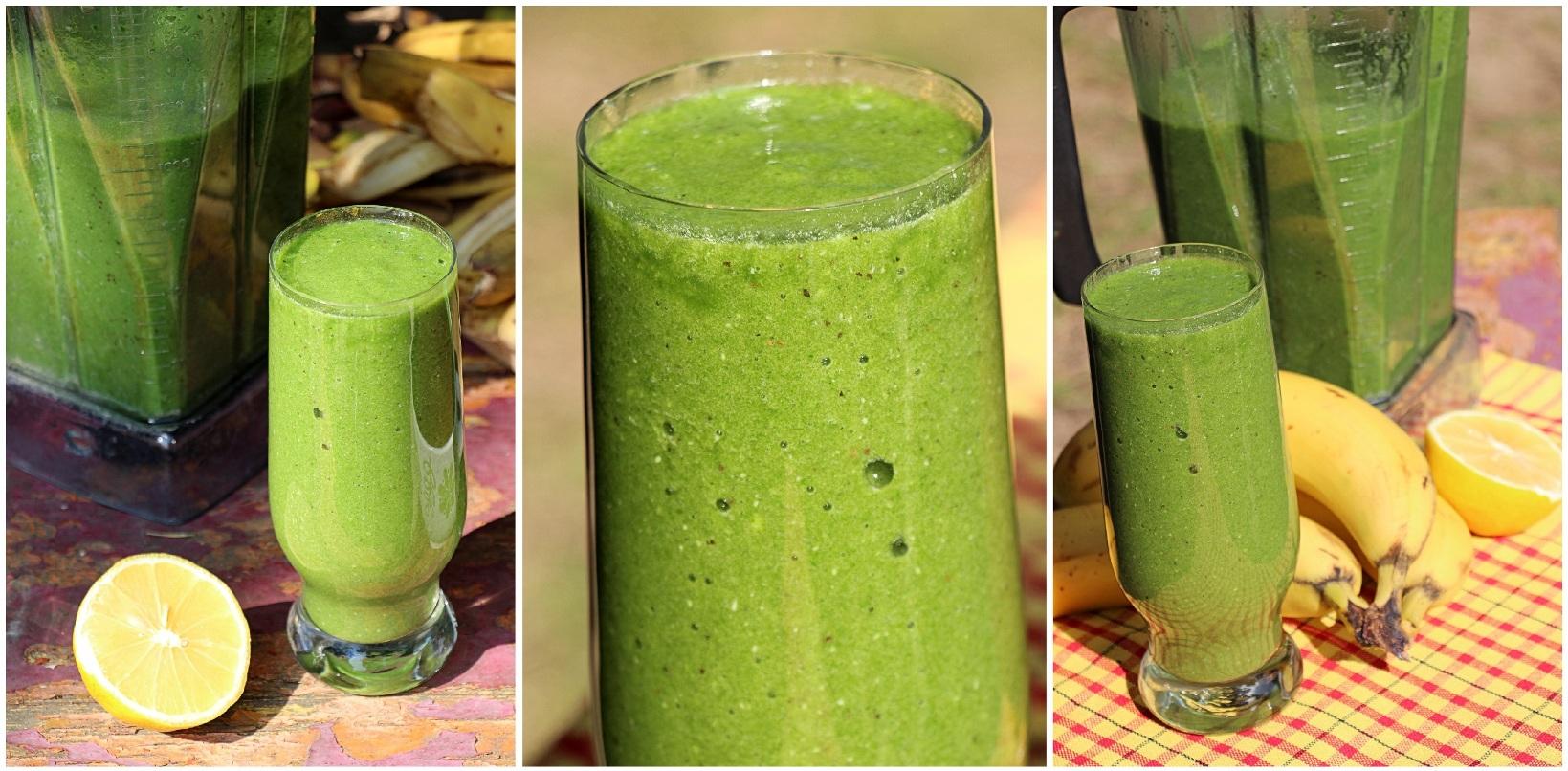Výsledný špenátový smoothie nukleárne zelenej krásnej farby