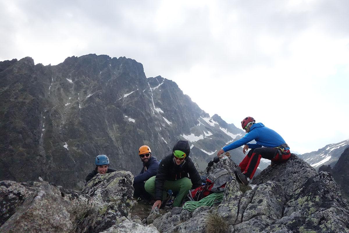 velická stena, cesta cez výlom, na vrchole, vysoké tatry