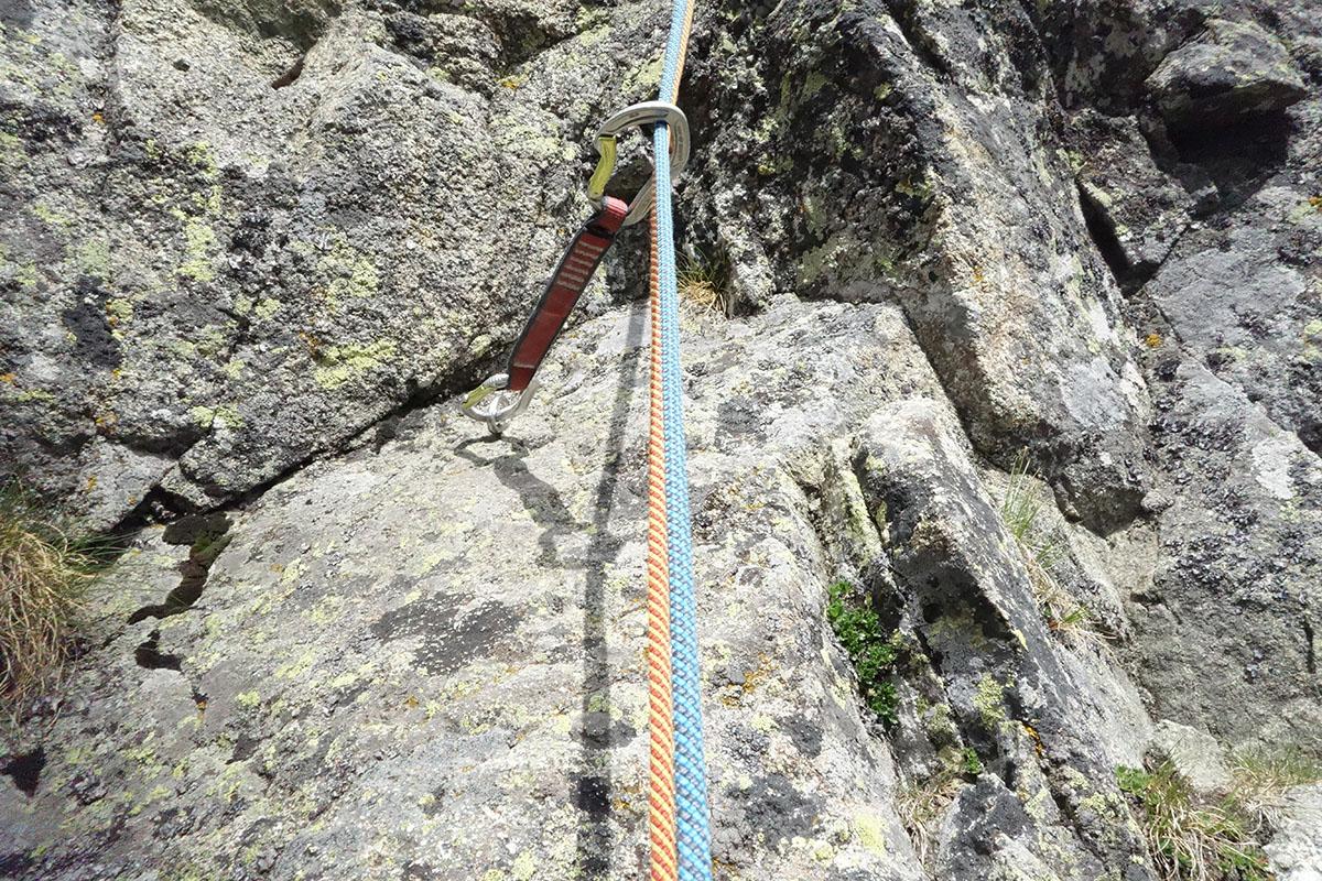 Velicka stena, cesta cez výlom, borhák v prvej dĺžke