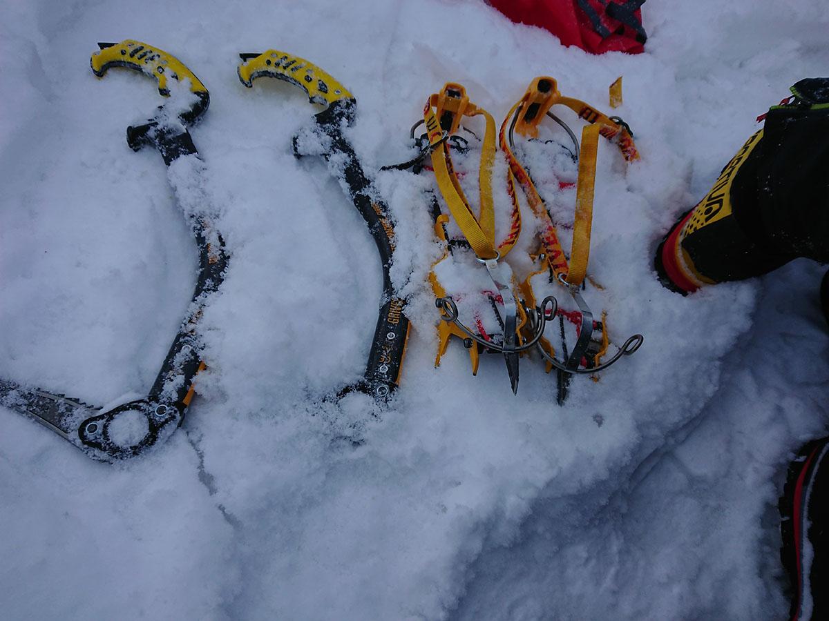 Veľký Mlynárov žľab zimné lezenie vo Vysokých Tatrách, zimný lezecký materiál