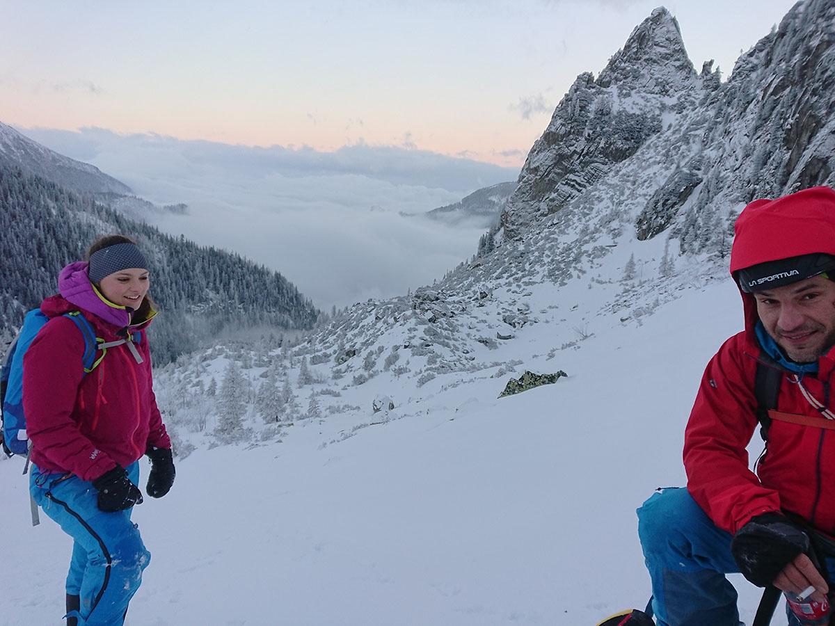 Veľký Mlynárov žľab zimné lezenie vo Vysokých Tatrách zostup smerom ku bileovdoskej doline