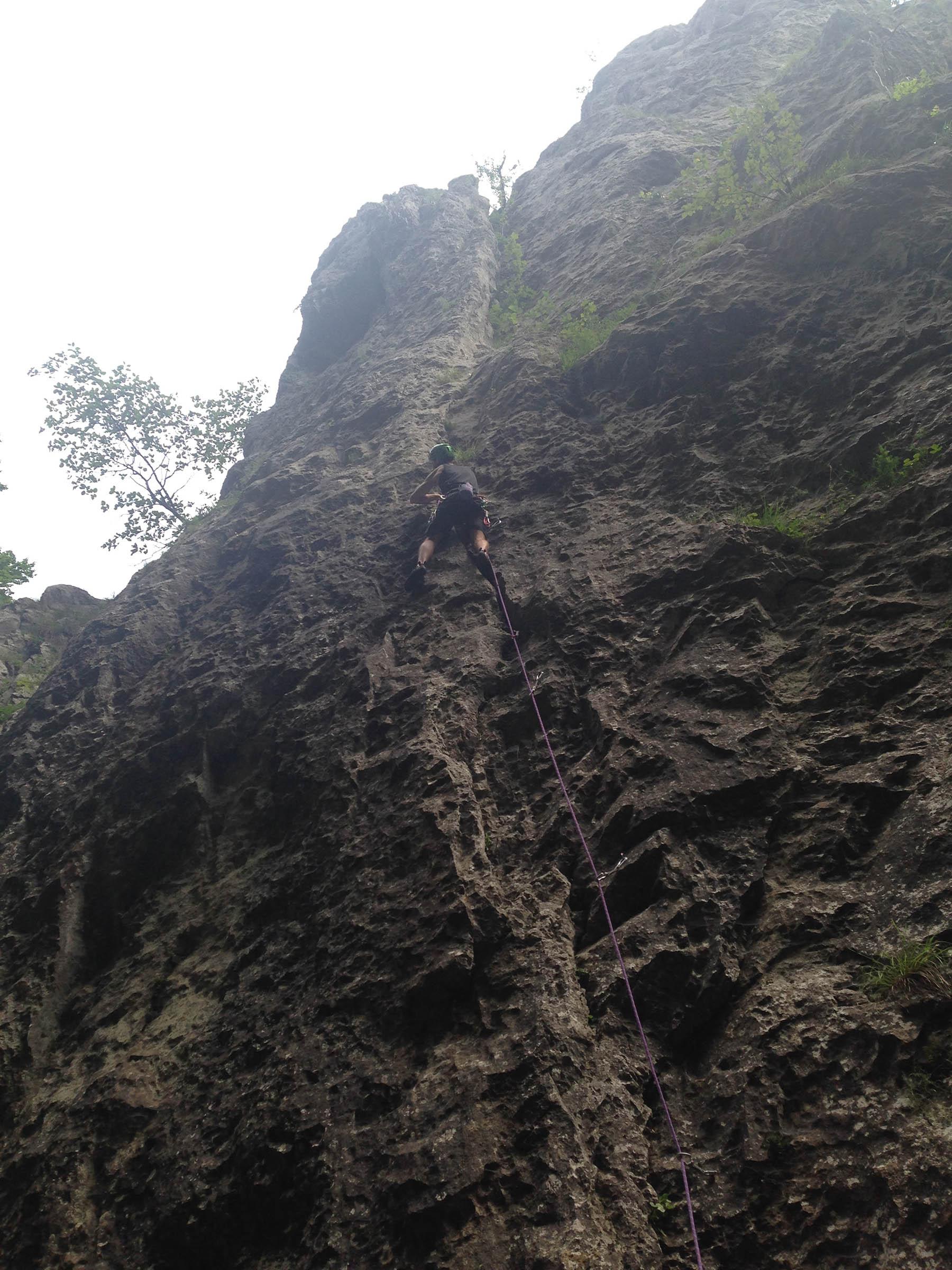 Zadiel a lezecka cesta ľavý Zmývač 7-