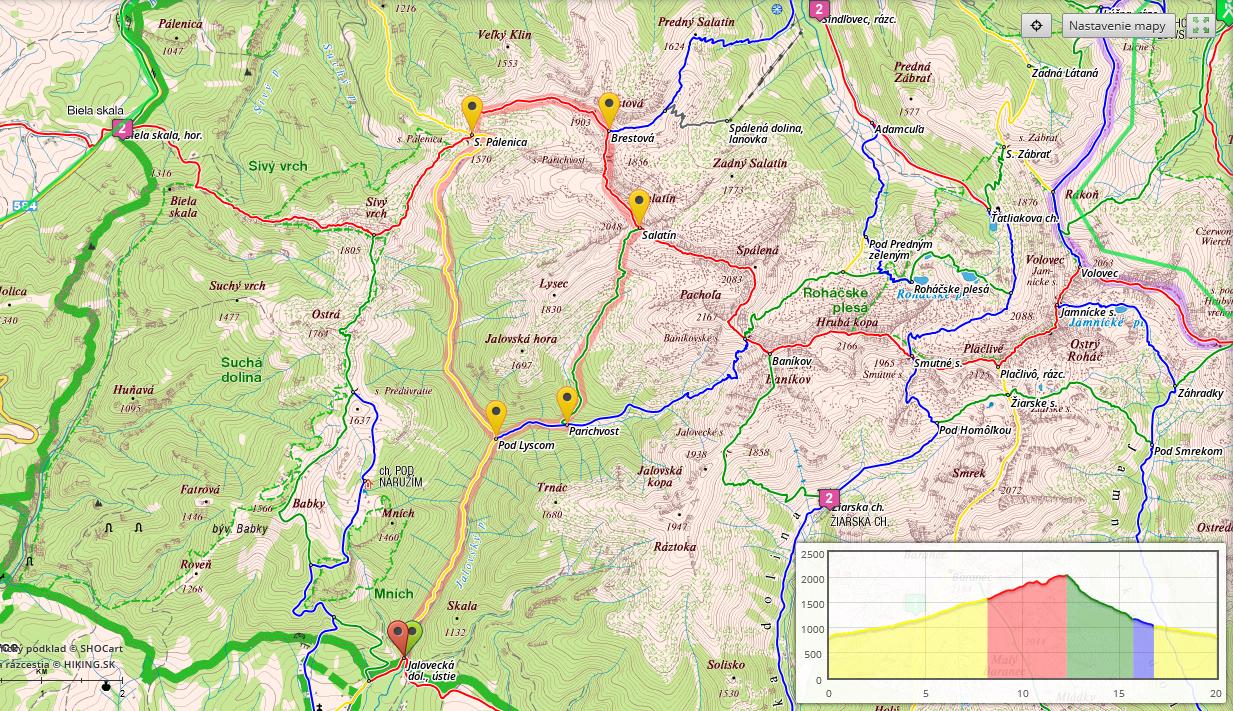 Západné Tatry bežecká mapa